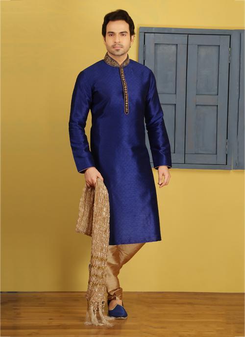 Festival Wear Blue Banarasi Silk Embroidery Work Sherwani Style