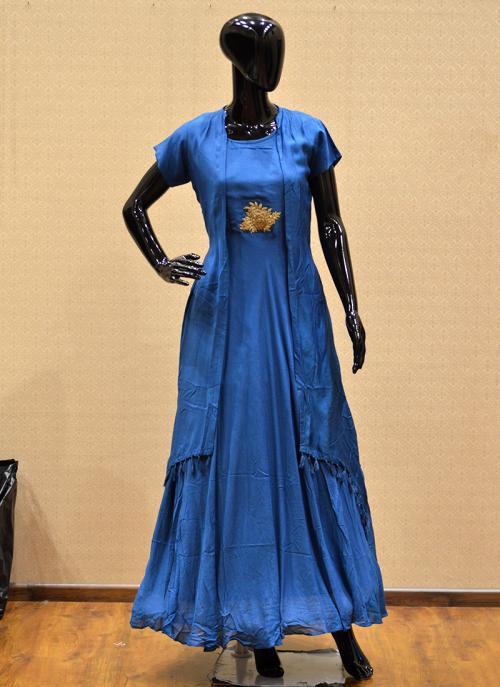 Festival Wear Blue Cotton Silk Patch Work Kurti