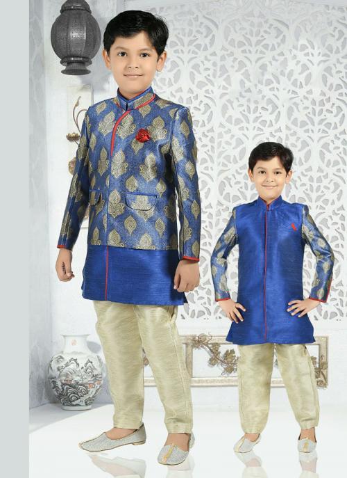 Festival Wear Blue Dhupion Zari Work Kids Kurta Pajama