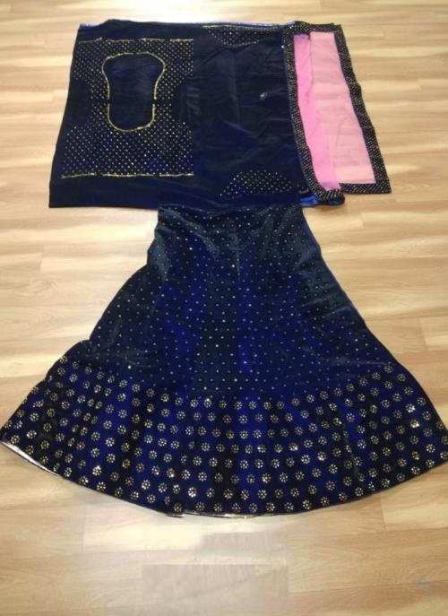 Festival Wear Blue Velvet Stone Work Lehenga Choli