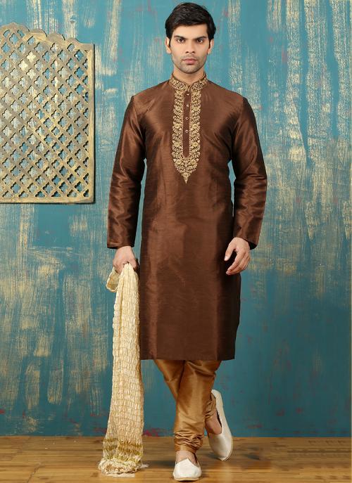 Festival Wear Brown Art Silk Embroidered Work Kurta Pajama