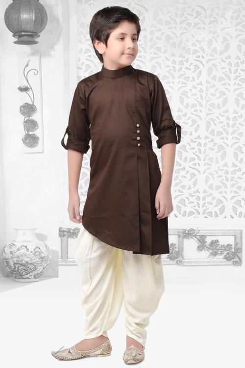 Festival Wear Brown Cotton Satin Plain Kids Kurta Pajama