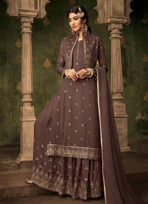 Festival Wear Brown Georgette Embroidery Work Sharara Suit