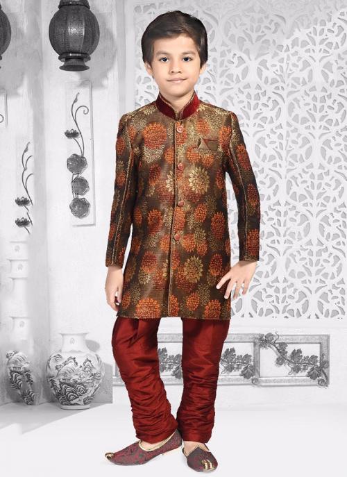 Festival Wear Brown Jacqaurd Digital Print Kids Kurta Pajama
