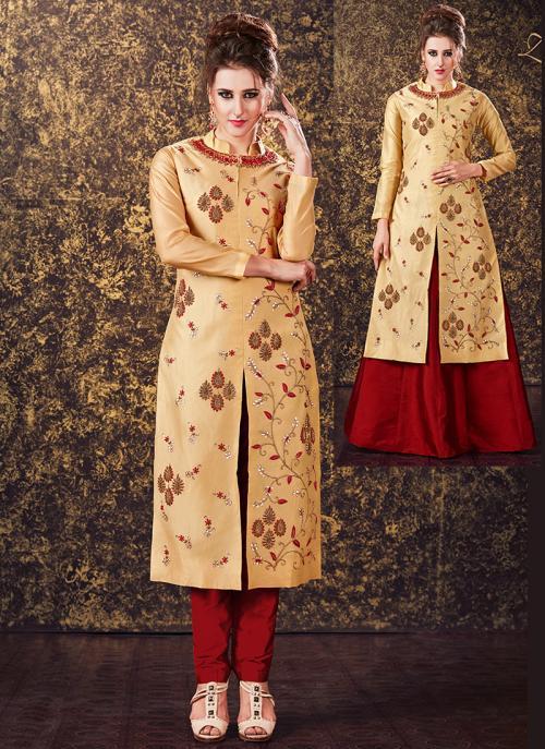 Festival Wear Chiku Silk Zardosi Work Designer Salwar Suit