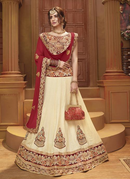 Festival Wear Cream Banglori Silk Lace Work Lehenga Choli