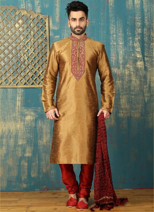 Festival Wear Golden Art Silk Embroidered Work Kurta Pajama