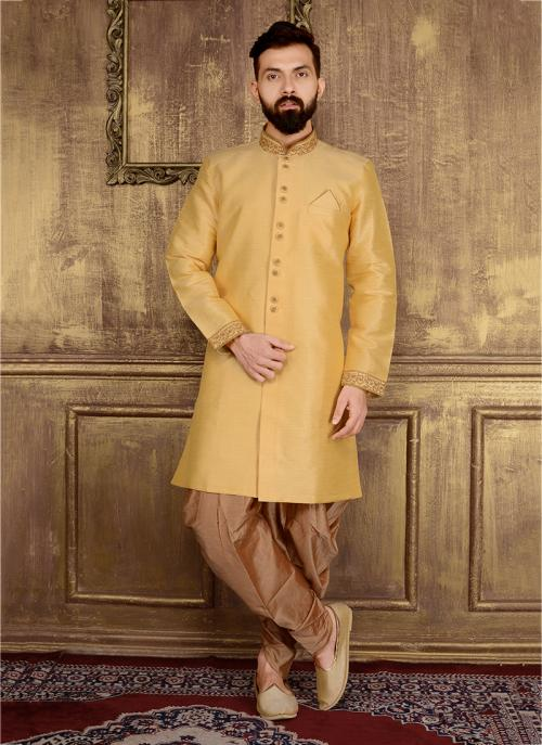Festival Wear Golden Banarasi Silk Embroidery Work Sherwani