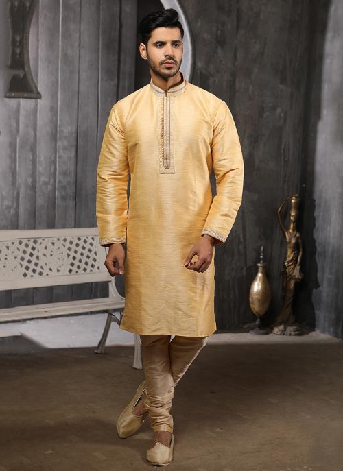 Buy Festival Wear Golden Banarasi Silk Lace Work Kurta