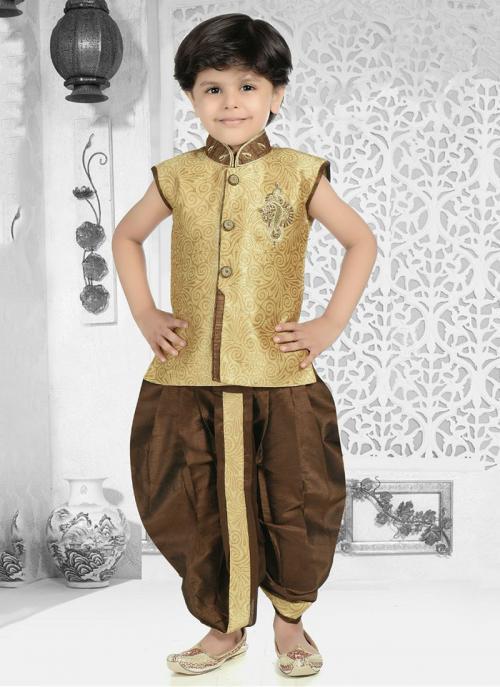 Festival Wear Golden Jacqaurd Fancy Work Kids Kurta Pajama
