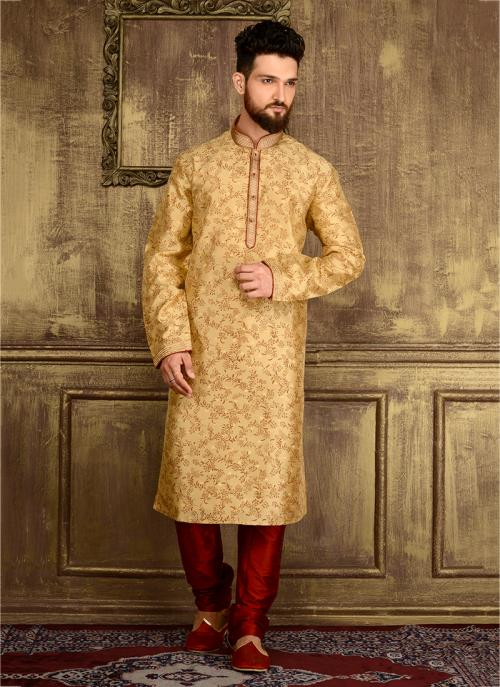 Festival Wear Golden Jacqaurd Silk Lace Work Kurta Pajama