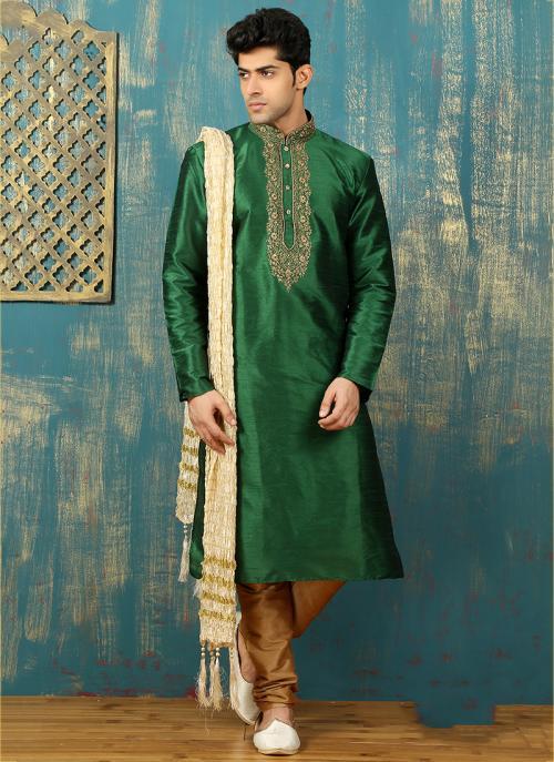 Festival Wear Green Art Silk Embroidered Work Kurta Pajama