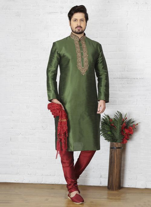 Festival Wear Art Silk Embroidery Work Green Sherwani Style