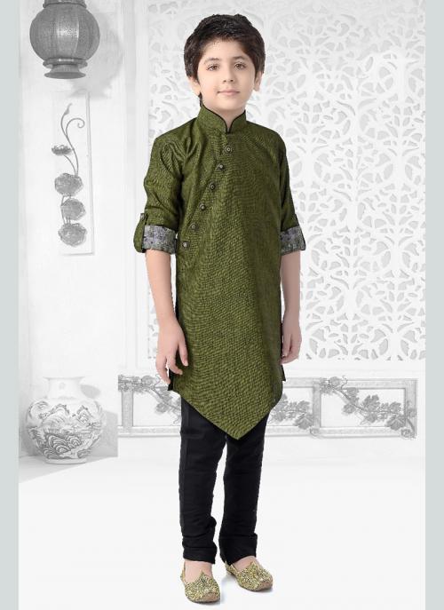 Festival Wear Green Cotton Printed Work Kids Kurta Pajama