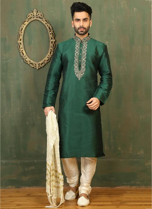 Festival Wear Green Dhupion Embroidered Work Kurta Pajama