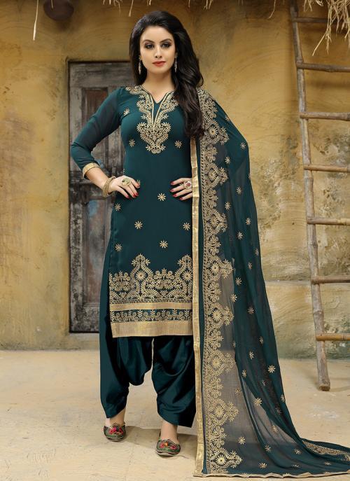 Festival Wear Green Faux Georgette Embroidery Work Salwar Suit