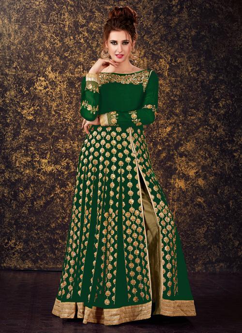 Festival Wear Green Georgette Sequins Work Anarkali Style