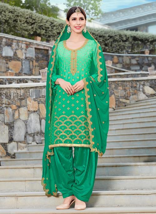 Festival Wear Green Rangoli Machine Work Patiala Suit