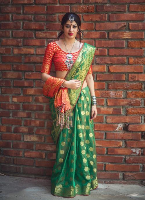 Festival Wear Green Silk Printed Work Saree