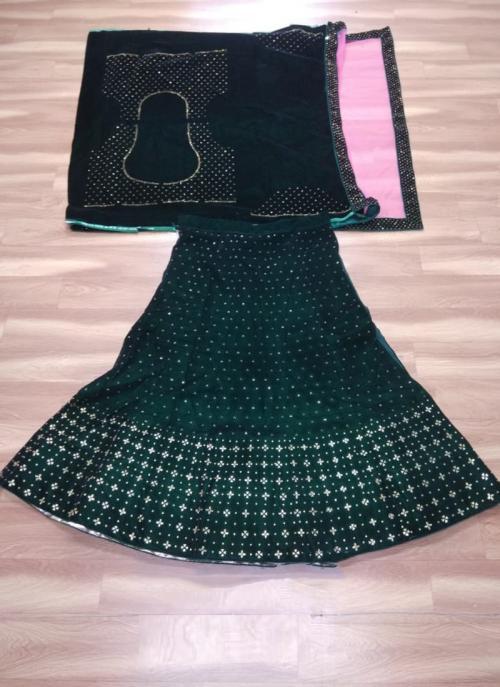 Festival Wear Green Velvet Stone Work Lehenga Choli