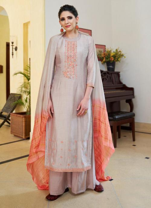 Festival Wear Grey Cotton Silk Embroidery Work Palazzo Suit