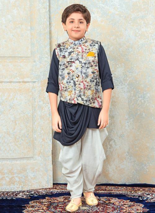 Festival Wear Grey Rayon Diamond Work Kids Kurta Pajama