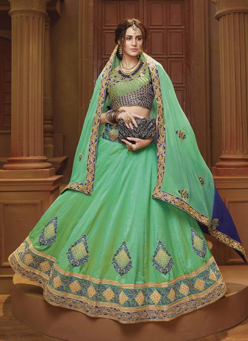 Festival Wear Light Green Banglori Silk Lace Work Lehenga Choli