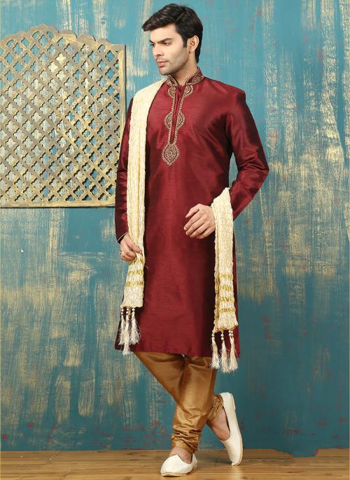Festival Wear Maroon Art Silk Embroidered Work Kurta Pajama