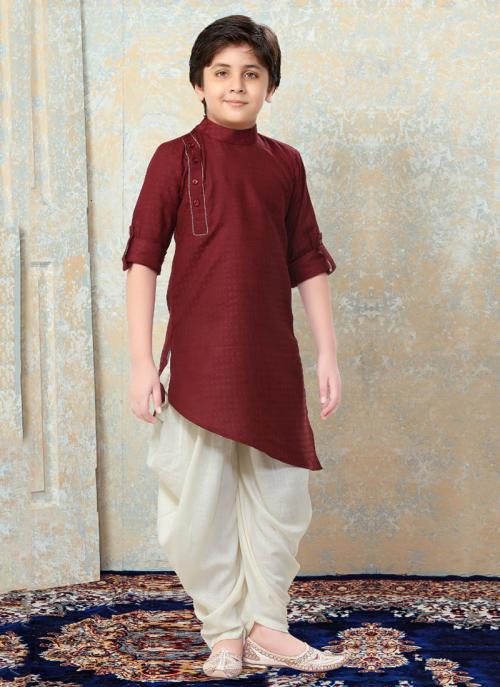 Festival Wear Maroon Art Silk Plain Kids Kurta Pajama