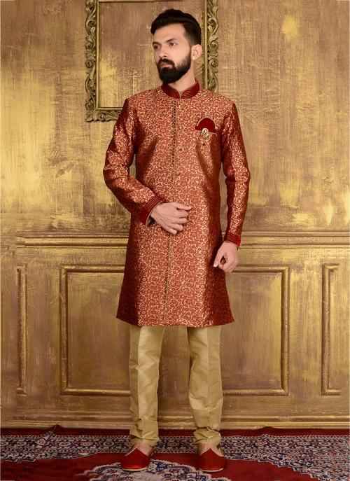 Festival Wear Maroon Jacqaurd Embroidery Work Sherwani