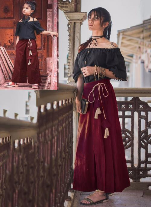 Festival Wear Maroon Khadi Patch Work Western Top