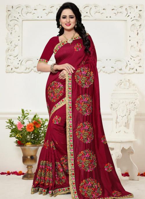 Festival Wear Maroon Silk Resham Work Saree