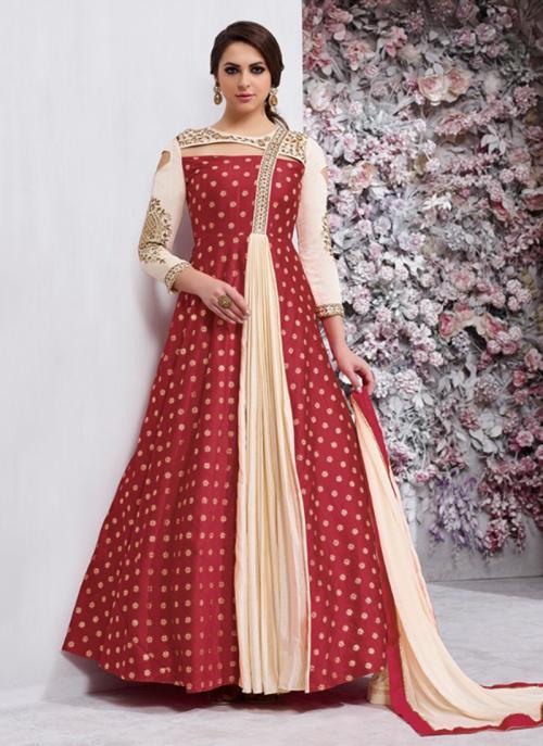 Festival Wear Maroon Silk Zari Butti Work Anarkali Style