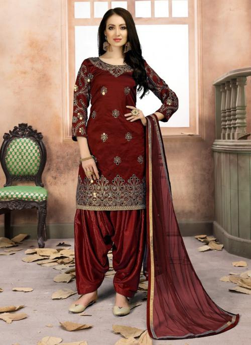 Festival Wear Maroon Tapeta Silk Heavy Embroidery Work Patiala Style