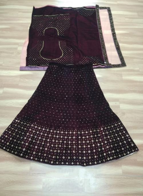 Festival Wear Maroon Velvet Stone Work Lehenga Choli
