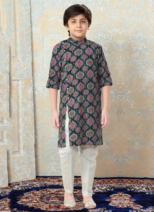Festival Wear Multi Color Cotton Printed Work Kids Kurta Pajama
