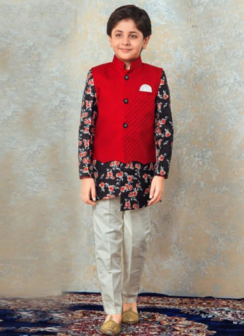 Festival Wear Navy Blue Cotton Digital Print Kids Kurta Pajama