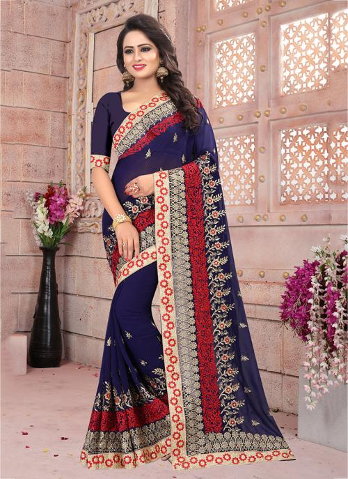 Festival Wear Navy Blue Georgette Coding Embroidery Work Saree