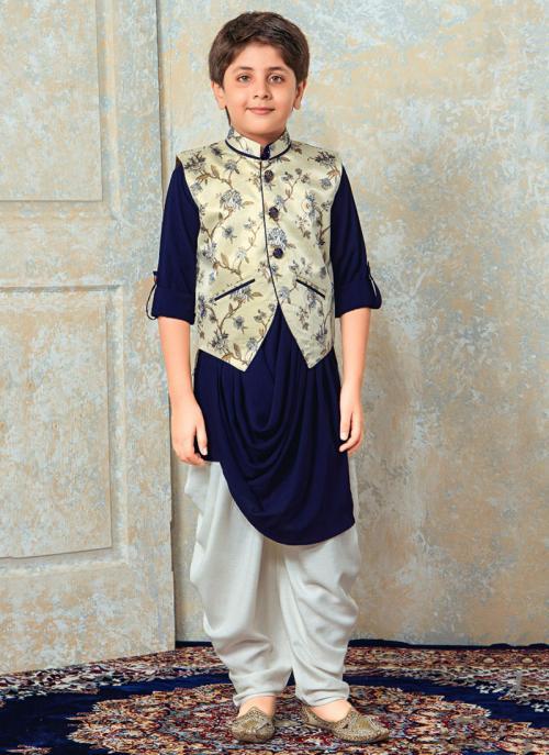 Festival Wear Navy Blue Rayon Printed Work Kids Kurta Pajama