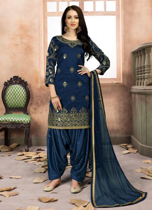 Festival Wear Navy Blue Tapeta Silk Heavy Embroidery Work Patiala Style