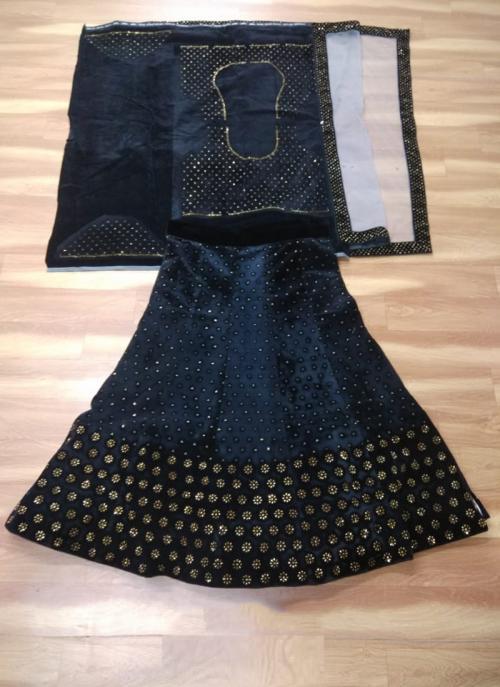 Festival Wear Navy Blue Velvet Stone Work Lehenga Choli