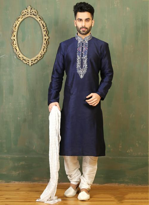 Festival Wear Neavy Blue Art Silk Embroidered Work Kurta Pajama