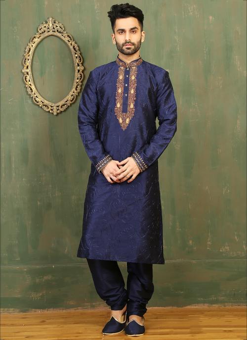 Festival Wear Neavy Blue Art Silk Embroidered Work Kurta Pajama