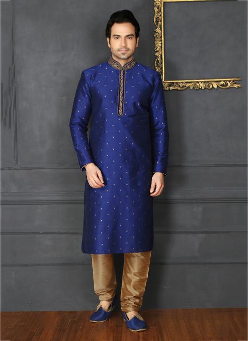 Banarasi Silk Embroidery Work Festival Wear Neavy Blue Sherwani Style