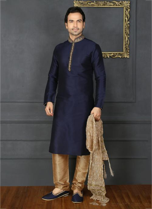 Embroidery Work Designer Festival Wear Neavy Blue Banarasi Silk Sherwani Style