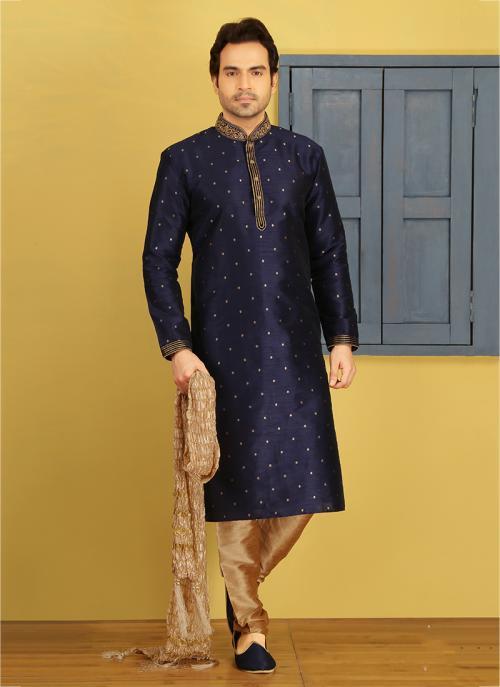 Festival Wear Neavy Blue Banarasi Silk Embroidery Work Sherwani Style