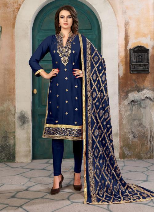 Festival Wear Neavy Blue Faux Georgette Gota Patti Work Churidar Suit