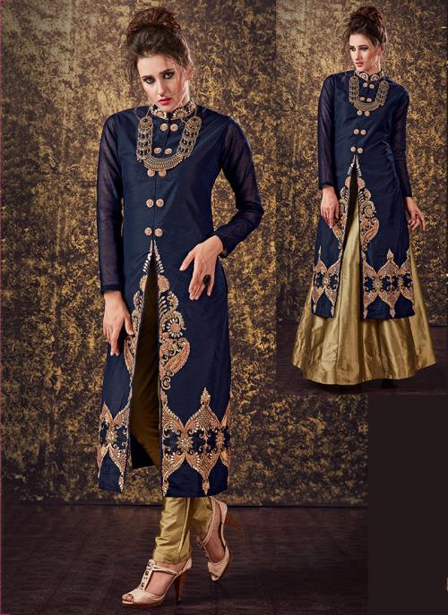 Festival Wear Neavy Blue Tapeta Silk Zardosi Work Designer Salwar Suit