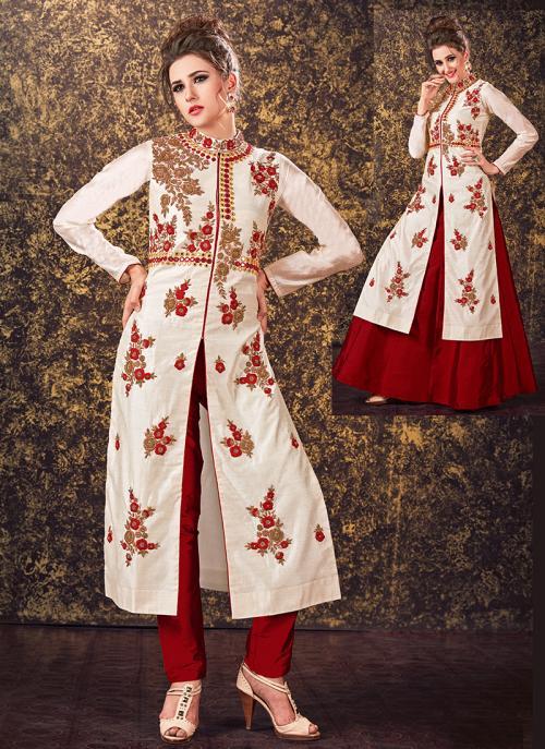 Festival Wear Off White Tapeta Silk Hand Work Designer Salwar Suit