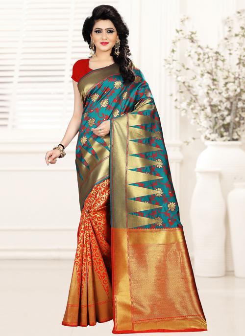 Festival Wear Orange Art Silk Embroidery Work Saree